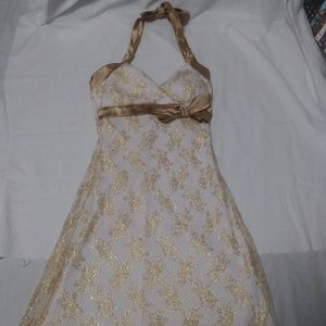 Taboo White and Gold Homecoming Dress